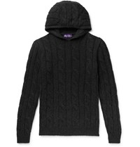 Ralph Lauren Purple Label Slim Fit Cable Knit Cashmere Hoodie Gray