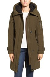 French Connection Women's Hooded Parka Russian Pine