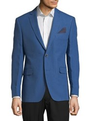 Black Brown Classic Slim Fit Linen Jacket Blue
