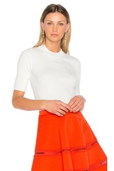 Carven Ribbed Knit Top White