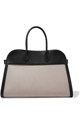 The Row Margaux 15 Buckled Leather Trimmed Canvas Tote Beige