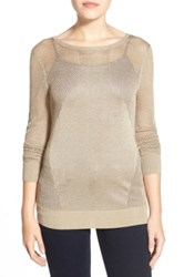 Michael Michael Kors Metallic Mesh And Jersey Sweater Beige