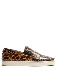 Christian Louboutin Pik Boat Python Slip On Trainers Brown Multi