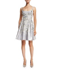 Marchesa Embroidered Sleeveless Scoop Neck Cocktail Dress Silver