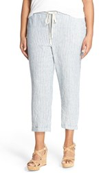 Plus Size Women's Caslon Linen Tie Front Crop Pants Blue Chloe Stripe