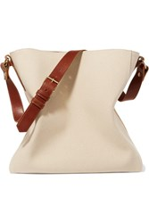 Lanvin New Hobo Leather Trimmed Cotton Canvas Tote Ivory