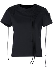 Vera Wang Corded Embroidery T Shirt Black