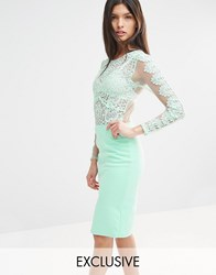 Club L Crochet Lace Bodycon Midi Dress Mint