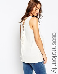 Asos Maternity Tunic With Lace Up Back In Crepe Cream