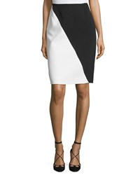 J. Mendel Colorblock Pencil Skirt Noir Ivoire Women's