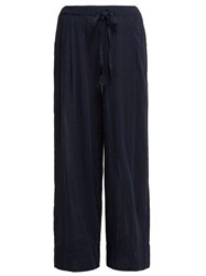 Loup Charmant Lace Insert Cotton Trousers Navy