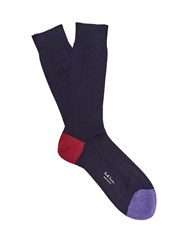 Paul Smith Ribbed Knit Cotton Blend Socks Navy Multi