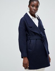 Selected Femme Wrap Wool Coat Navy