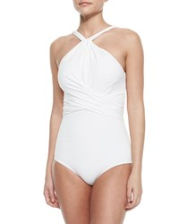 Michael Kors Twisted High Neck One Piece Swimsuit White