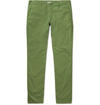 Tomas Maier Riviera Slim Fit Cotton Trousers Green