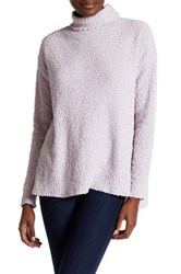Joseph A Funnel Neck Popcorn Knit Pullover Sweater Purple