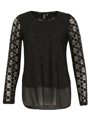 Izabel London Double Layered Net Top Black