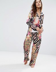 Wolf And Whistle Satin Animal Print Long Pyjama Bottom Top Multi