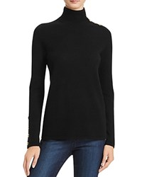 Bloomingdale's C By Button Mock Neck Cashmere Sweater Black