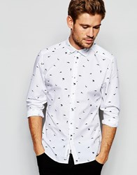Esprit Shirt With All Over Mini Shark Print White