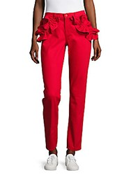 J Brand Ruffled Slim Fit Ankle Jeans Red