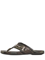 Richmond Croc Embossed Leather Flip Flops Camouflage