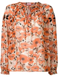 Giamba Embroidered Floral Blouse Yellow And Orange