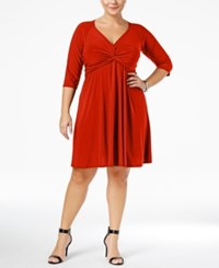 Love Squared Trendy Plus Size Knotted Fit And Flare Dress Red