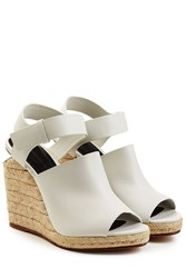 Alexander Wang Leather Sandals With Raffia Wedges White