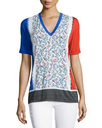 Prabal Gurung V Neck Floral Print Tee Multi Colors Smflwr