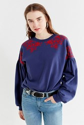 Urban Outfitters Uo Embroidered Sweatshirt Blue Multi