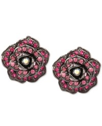 Betsey Johnson Hematite Tone Crystal Pave Rose Button Stud Earrings Pink