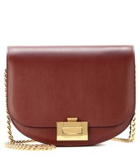 Victoria Beckham Box With Chain Leather Shoulder Bag Red