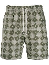 Universal Works Aztec Print Shorts Green