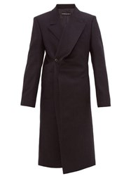 Y Project Twisted Lapel Double Breasted Wool Coat Dark Navy