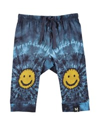 Molo Sabble Tie Dye Soft Pants W Smiley Face Knees Multi