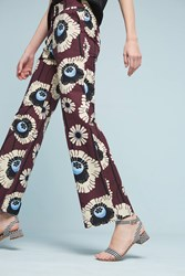 Anthropologie Printed Silk Trousers Plum