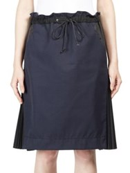 Sacai Cotton Twill Drawstring Skirt Navy