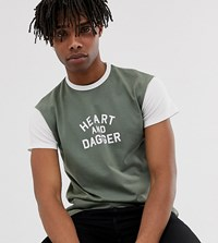 Heart And Dagger Slim Fit T Shirt In Khaki Green