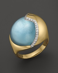 Kara Ross 18K Yellow Gold Smooth Hydra Ring With Blue Topaz And Diamonds Gold Multi