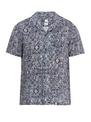 120 Lino Short Sleeved Aztec Pattern Linen Shirt Blue Multi