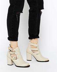 Yes Northern Lights Strap Heeled Ankle Boots Cream
