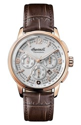 Ingersoll Watches Men's Regent Chronograph Leather Strap Watch 47Mm Brown Silver Rose Gold