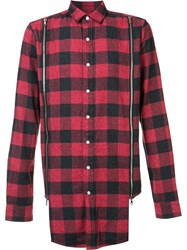 Mostly Heard Rarely Seen Zipped Detailing Plaid Shirt Red