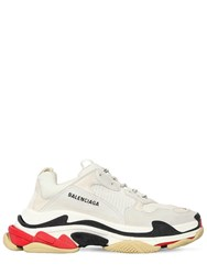 Balenciaga Triple S Suede Leather And Mesh Sneakers White