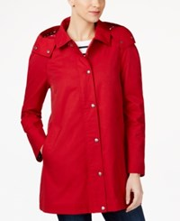 Tommy Hilfiger Water Resistant Hooded Snap Front Raincoat Red