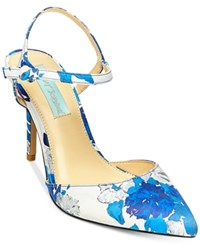 Blue By Betsey Johnson Anina Pointed Toe Evening Pumps Women's Shoes Blue Floral
