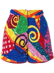 Manish Arora Swirl Patchwork Sequin Shorts Multicolour