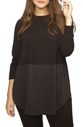 Universal Standard Plus Size Mixed Media Button Back Top Black