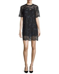 Carven Short Sleeve Embroidered Lace Shift Dress Noir Noir